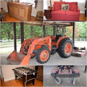 Kubota Tractor, Bush Hog Mower & Home Furnishings