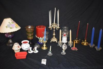 Variety of Decorative Candles and Holders and Hurricane Lamps