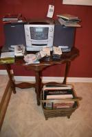 Table and Radio Set with CD, Records, Cassette Tapes