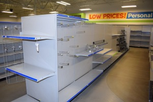 GONDOLA SHELVING 48'' X 74'' DOUBLE SIDED (7 SECTIONS) W/TWO GONDOLA 36''X74'' END CAPS 16'' shelf