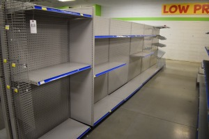 GONDOLA SHELVING 48'' X 74'' DOUBLE SIDED (5 SECTIONS) AND TWO 36'' X 74'' 16'' shelf