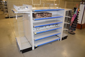 GONDOLA SHELVING AND DISPLAYS (1)48'' X 74''DS,(2) 36''X74'',(1)48''X55''DS,(4)36''X55'', 16'' shelf