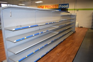 GONDOLA SHELVING 48'' X 74'' DOUBLE SIDED (6 SECTIONS) W/(1) 36''X74'' END CAPS 16'' SHELVES
