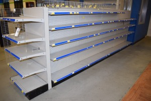 GONDOLA SHELVING 48''X 55'' (4 SECTIONS) 10'SHELVES,24'X55''END CAP W/16'SHELF