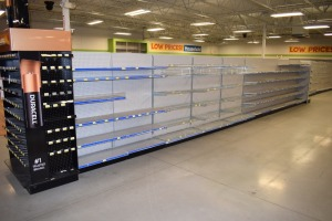GONDOLA SHELVING 48'' X 74'' DOUBLE SIDED (9SECTIONS) W/(1) 36''X74'' END CAPS& BATTERY CENTER DISPLAY