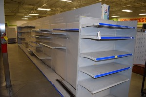 GONDOLA SHELVING 48'' X 74'' ONE SIDE IS A CARD DISPLAY  (9 SECTIONS) W/(1) 36''X74'' END CAPS ONW CARD END CAP