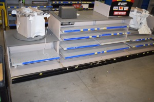 CHECK OUT COUNTER WITH GONDILA SHELVING MOUNTED INSIDE W/POS SCANNERS AND BAG