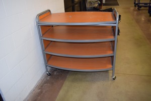 BROWN ROLLING DISPLAY CART