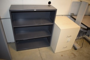 2 DRAWER FILING CABINET AND METAL SHELF