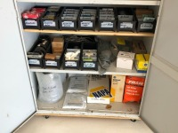 Metal Cabinet with Miscellaneous Parts: Oil Fliters, Spark Plugs, Gaskets, Bearings, Seals, Brake Pads, Air Filters & Can Filters - 5
