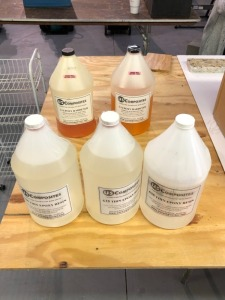 Three 635 Thin Epoxy Resign (One partial full) & Two Partial Gallons 3;1 Epoxy Hardener