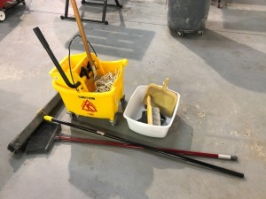 Cleaning Supplies: Brooms, Dust Pans, Mop,
