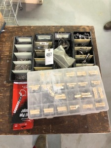Box of Nails, Four Boxes of Screws, Hose Clamps, Two Tail Pipe Hangers & Rivets