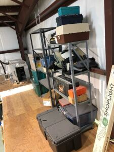 Two Metal Shelves with Contents & Storage Totes