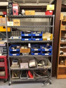 Metal Shelf & Contents: Wire & Cable Clamps, Bus Bar Terminal Strips, Heat Shrink, Lacing Tape, Electric Components, & Wire Connectors