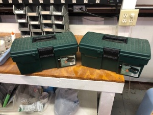 "(2) 16"" Tool Boxes with Paint Brushes & Scrapers"