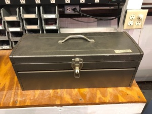 Metal Tool Box with Staplers, Glue Guns, Cutters and Misc.