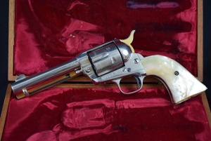 Colt Single Action with Pearl Grips, 45 Caliber, Serial: 335015