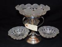 Victorian Sweet Meat Server/ Silver over Copper