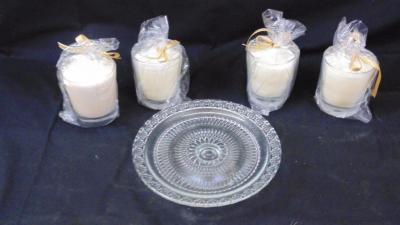 Kissy May Candle Company ( 4 candles and Glass Platter