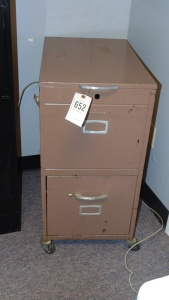 2 Compartment Rolling Metal File Cabinet
