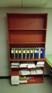 Red Bookcase With 6 Shelves  42 In X 11 In X 72 In