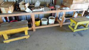 Wooden Table 12' X 2 Ft And 2 Wooden Benches(Excluding Contents)