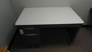 Metal Desk With 2 Drawers  (49 In X 30 In X 30) With Matching Table (49 In X 30 In X 30)