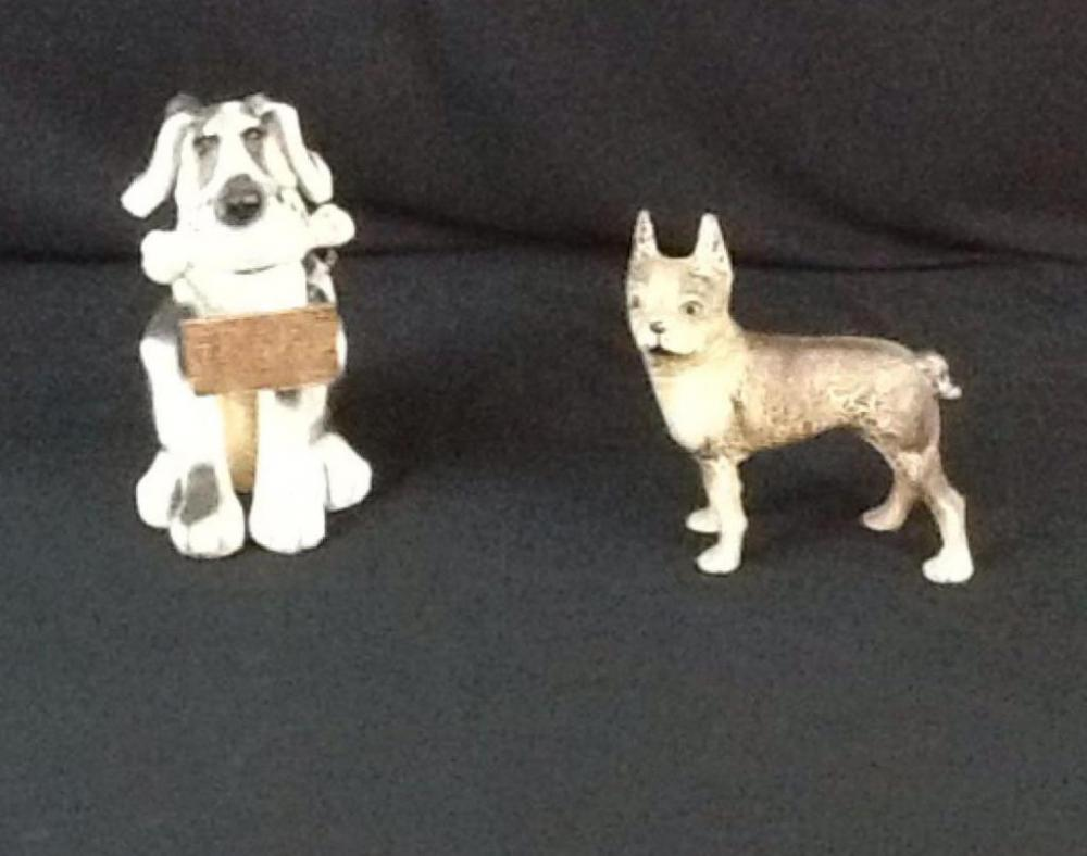 One Bobble Head Dog Ornament And One Cast Iron Boston Terrier Door Stop